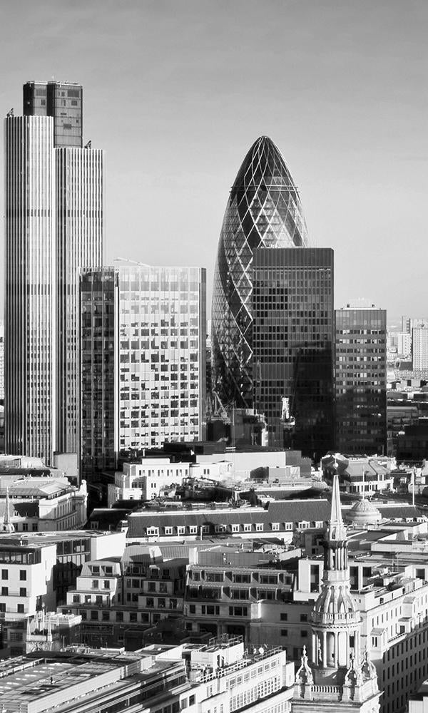 Black & White The Gherkin, London Mural Wallpaper. Digital Wallpaper