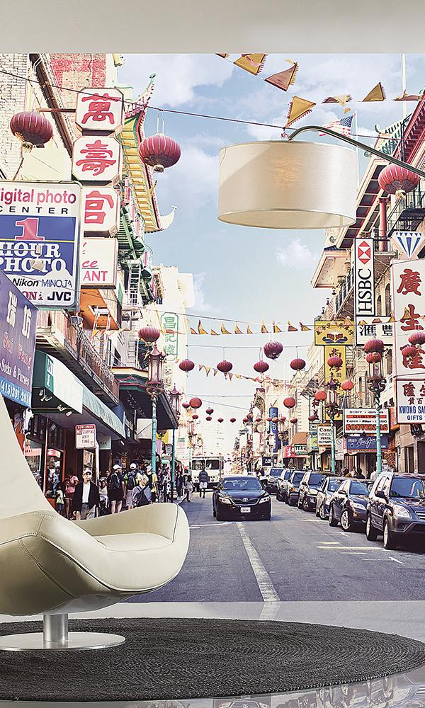 San Fransisco Chinatown Wall Mural M9086A. Mural Wallpaper. Digital Wallcovering. Digital Wallpaper. City escapes wallpaper.