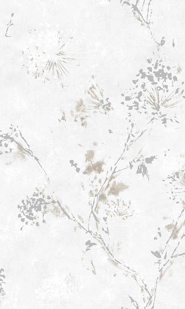 painted metallic flower bunches wallpaper
