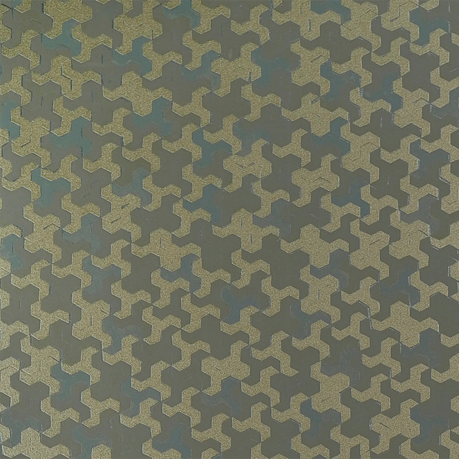 Geometric Metallic Grey and Gold Link Wallpaper R3850