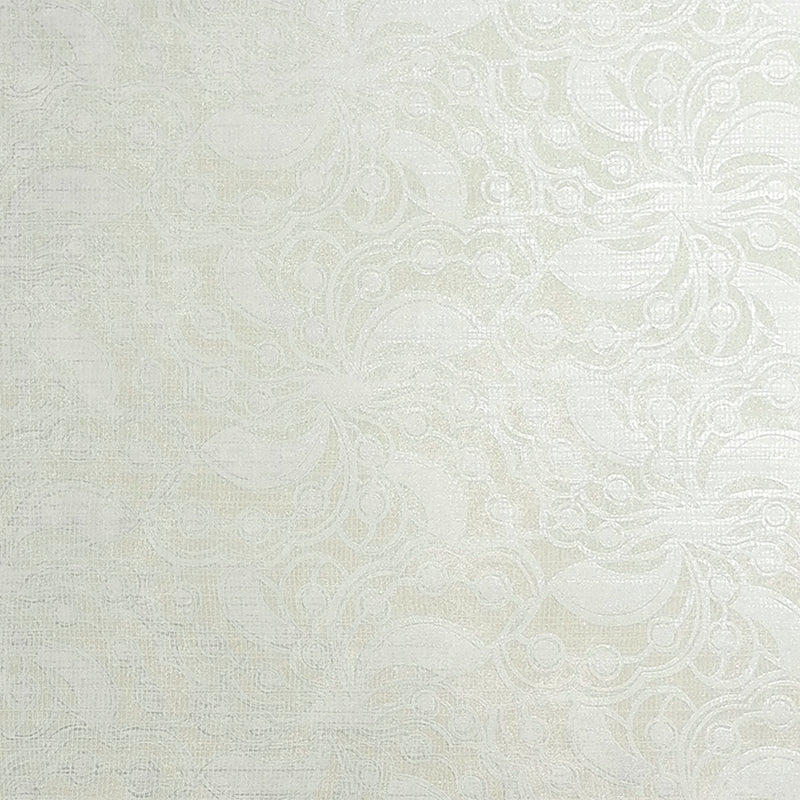Metallic Beaded Floral White and Beige Wallpaper R3858
