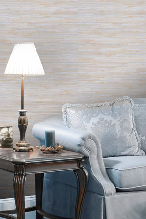 Kapok Blue & Beige Grass-cloth Woven Wallpaper R1992. Grasscloth wallpaper.
