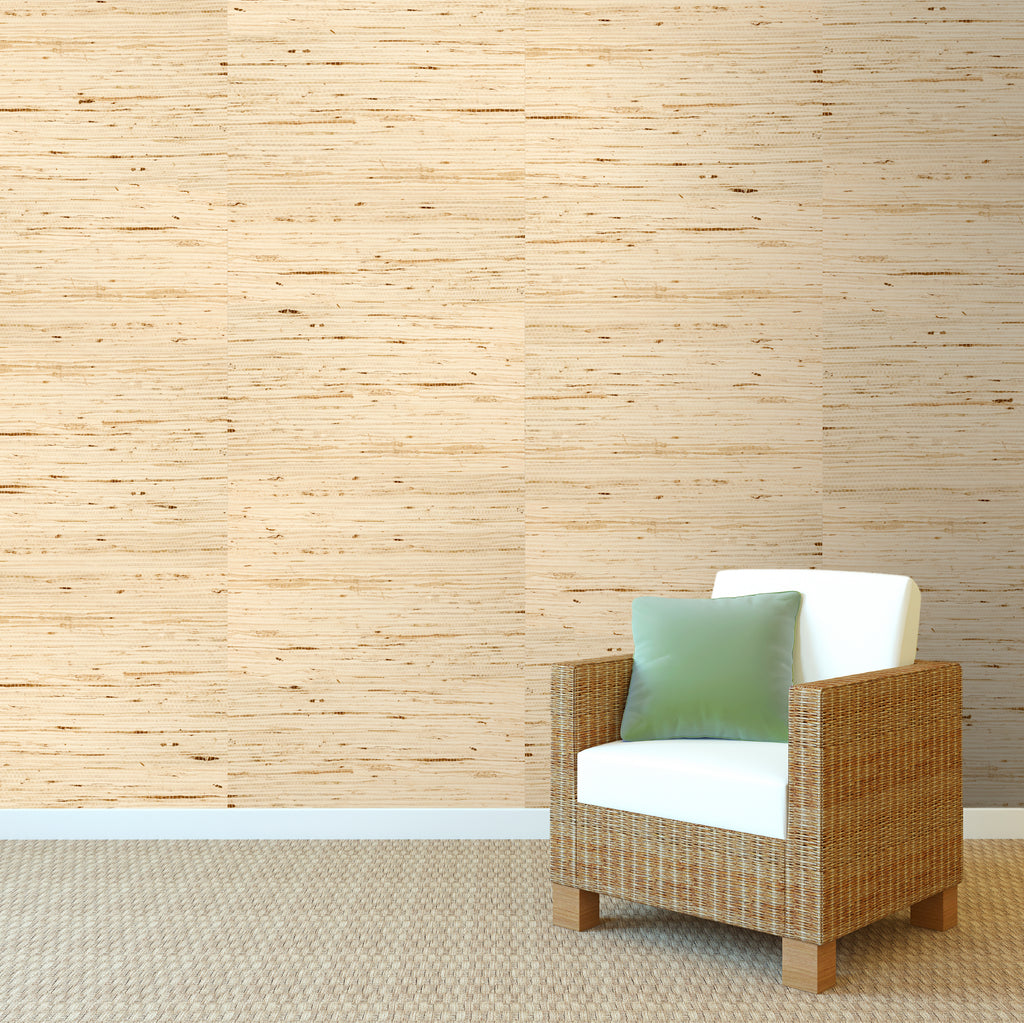 Grasscloth White with Gold Kapok Wallpaper R1985