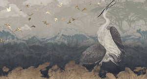 asian crane nature mural wallpaper