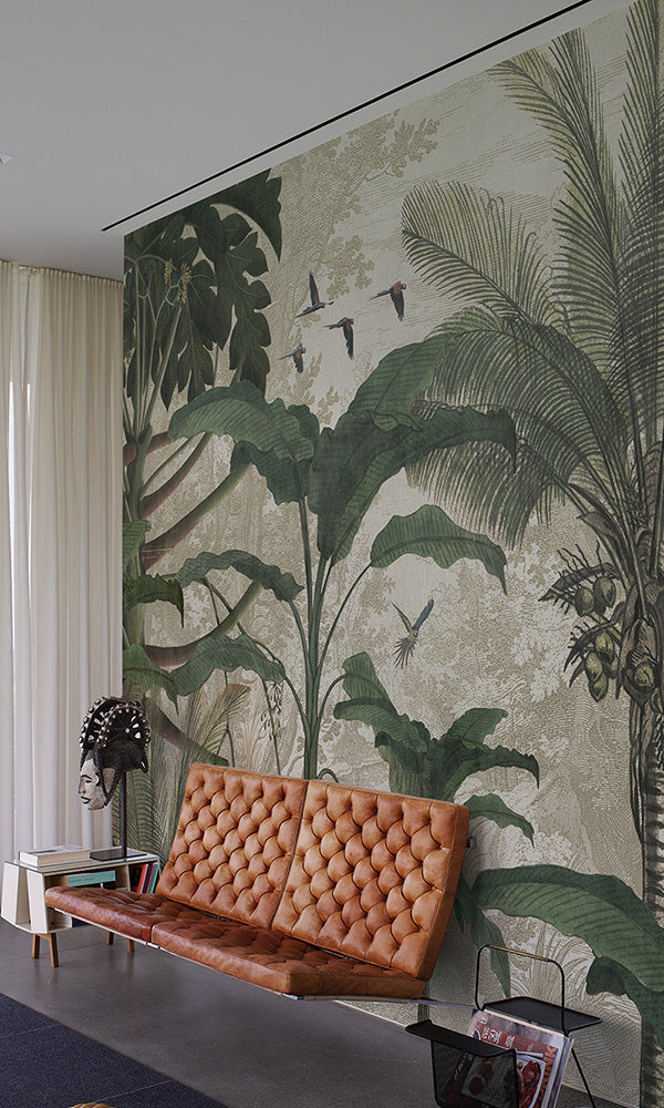 tropical jungle illustration mural wallpaper