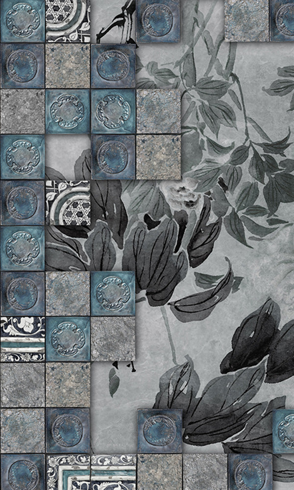 faux tile floral mural wallpaper