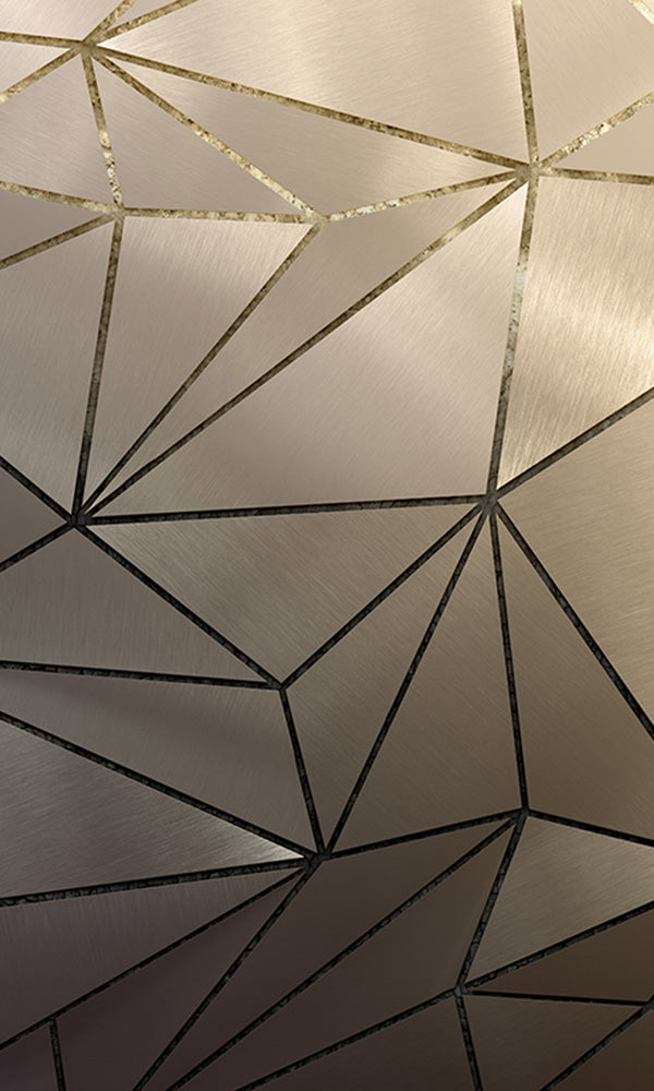 faux metal geometric mural wallpaper