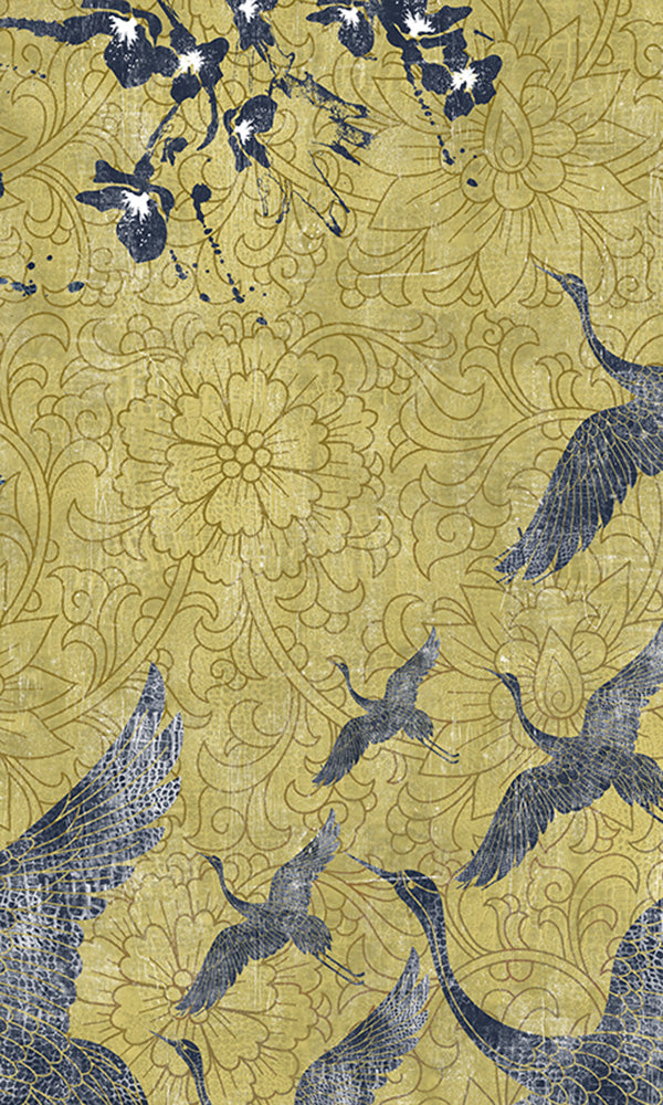 soaring oriental birds mural wallpaper