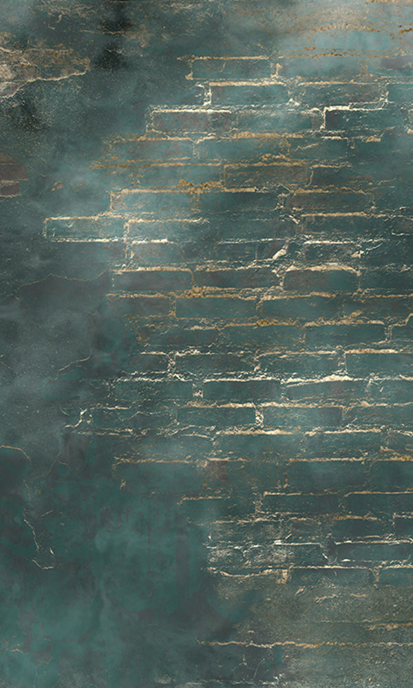 metallic faux brick wall mural wallpaper