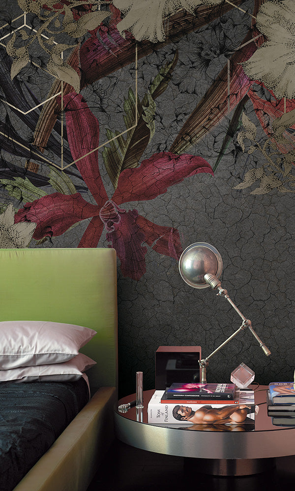geometric floral on concrete mural wallpaper