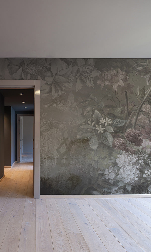floral illustration on geometric mural wallpaper