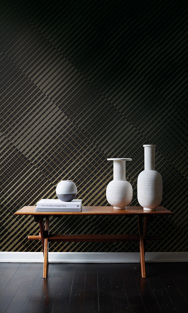 metallic geometric mural wallpaper