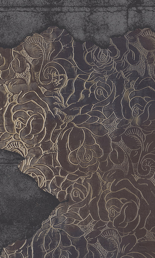 floral engraved concrete mural wallpaper