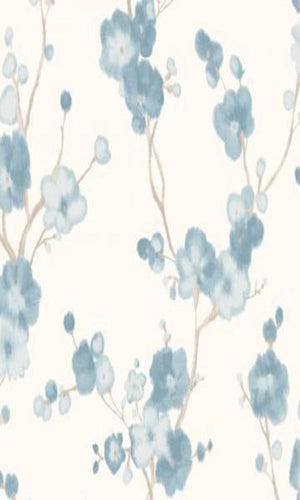 Watercolor Minimalist Blossoms Floral Wallpaper Blue and White R4690