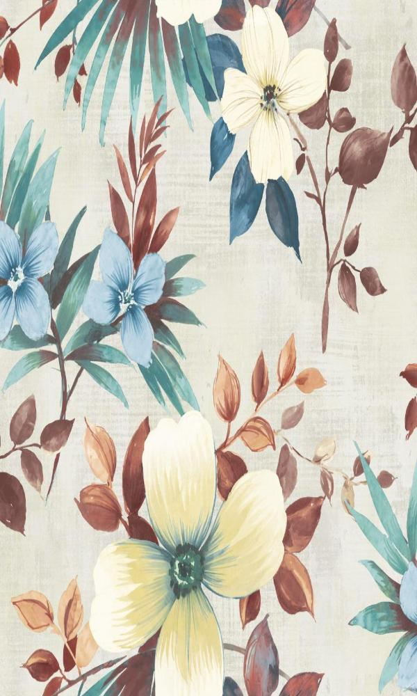 Multi-Colored Classic Bold Floral Wallpaper R5082. Bold floral wallpaper. Floral wallpaper. Traditional wallpaper. Tropical wallpaper.