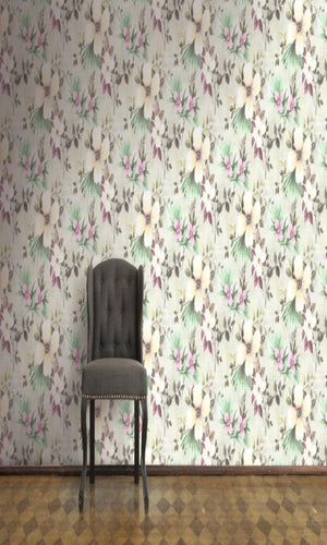 Purple & Yellow Classic Floral Field R5084. Floral wallpaper. Classic wallpaper. Yellow wallpaper. Classic wallpaper. Living room wallpaper.