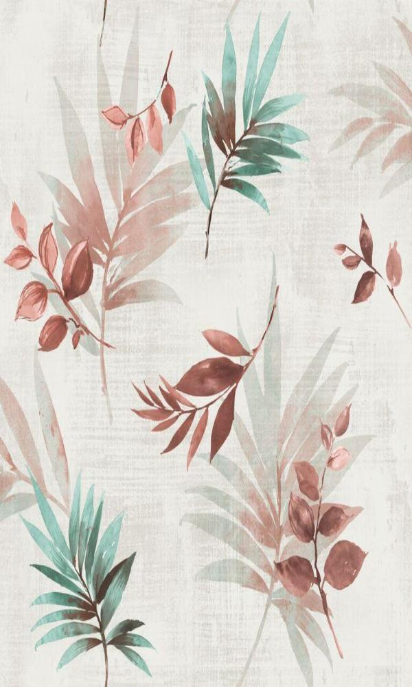 White, Red & Green Leafy Wallpaper R5090 | Floral Home Wall Covering