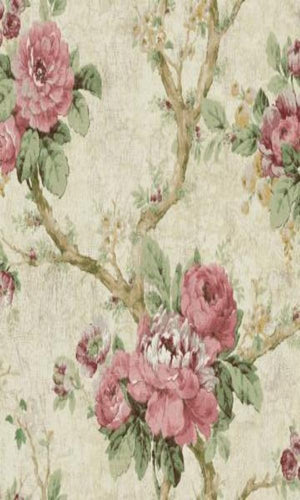 vintage floral wallpaper,Pink & White Floral Garden Wallpaper R4827 | Elegant Bedroom Interior