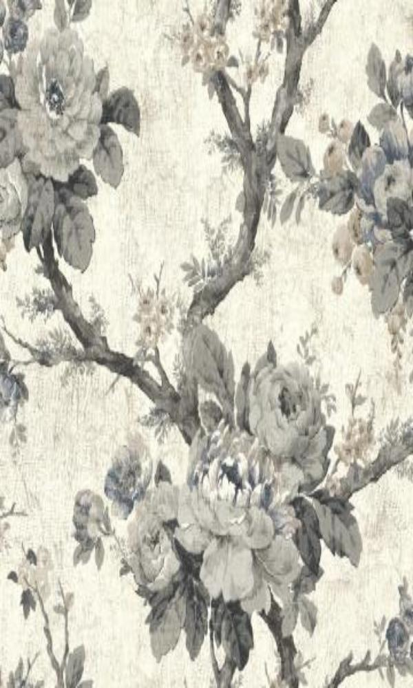 black and white vintage floral wallpaper,Grey Floral Garden Wallpaper R4823 | Vintage Home Interior