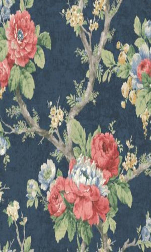 Classic Rustic Garden Wallpaper Blue and Red R4825
