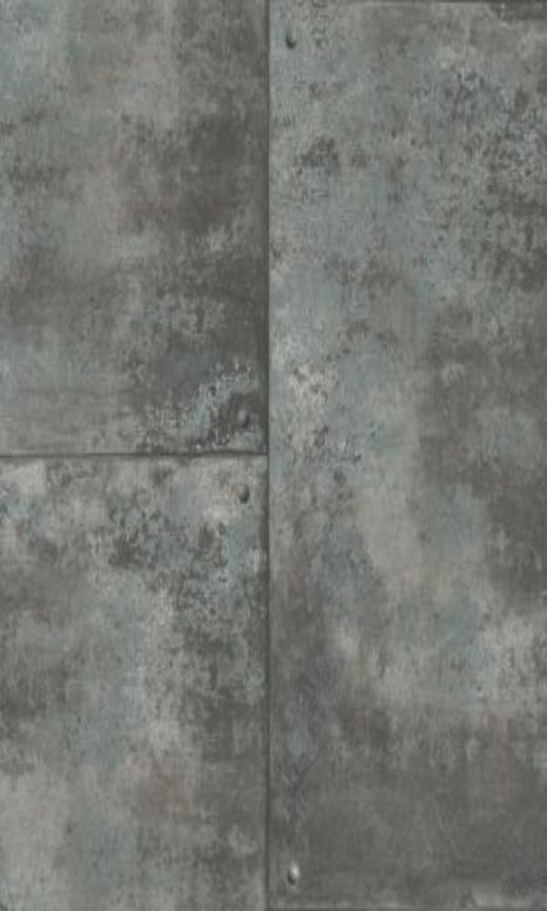 Corroded Metal Tiles Wallpaper Blue and Black R4774