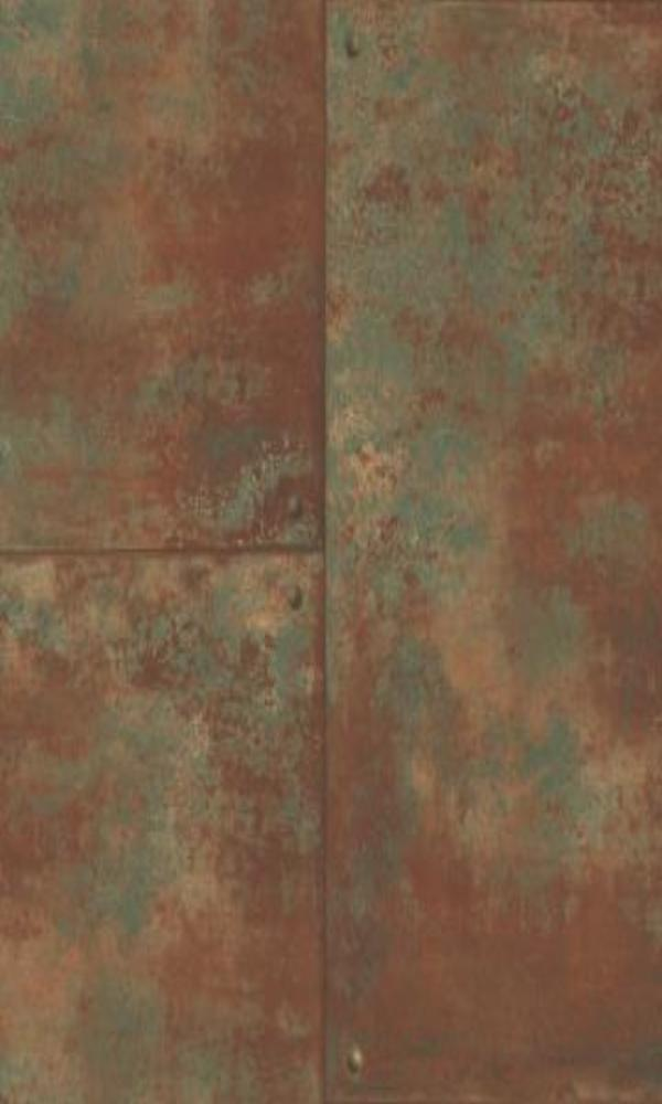 Corroded metal tiles wallpaper brown and green r4771 walls republic us - American tin tiles wallpaper ...