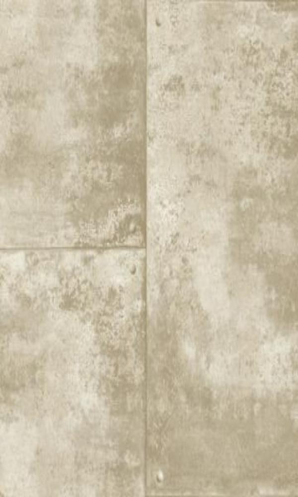 Corroded Metal Tiles Wallpaper Taupe and Grey R4772