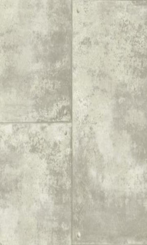 Corroded Metal Tiles Wallpaper Grey and White R4773