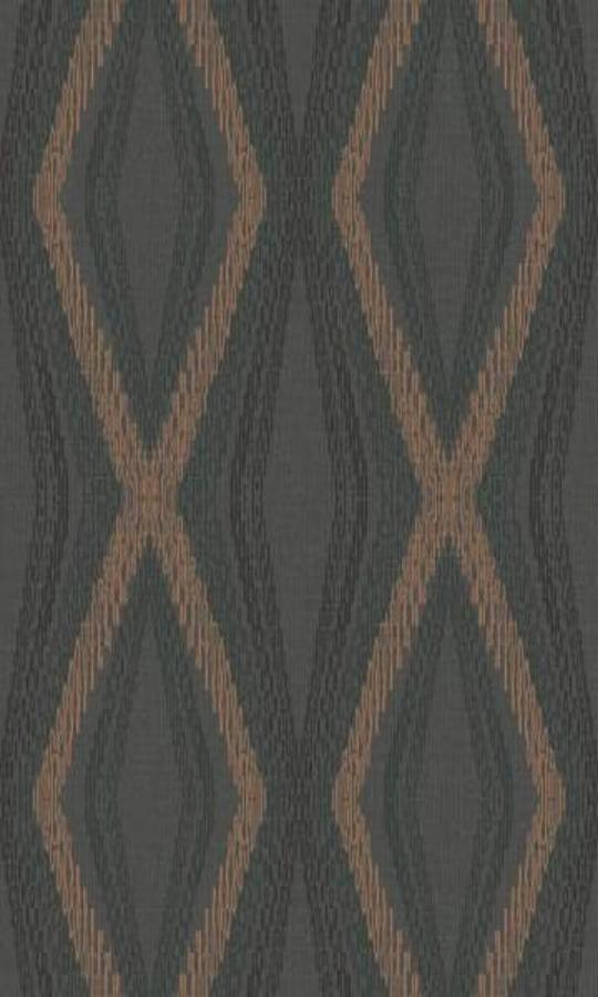 Diamond Chain Geometric Wallpaper Black and Metallic Copper R4678