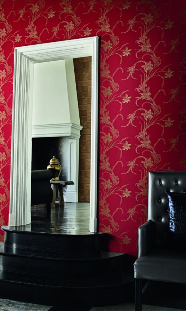 Red Metallic Textured Floral Wallpaper SR1130