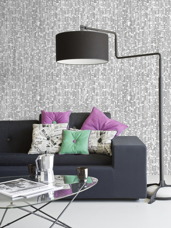 Expression Grey Textured Wallpaper R1394 | Elite Living Room Design