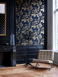Black Damask Wallpaper SR1506 | Traditional Home Interior