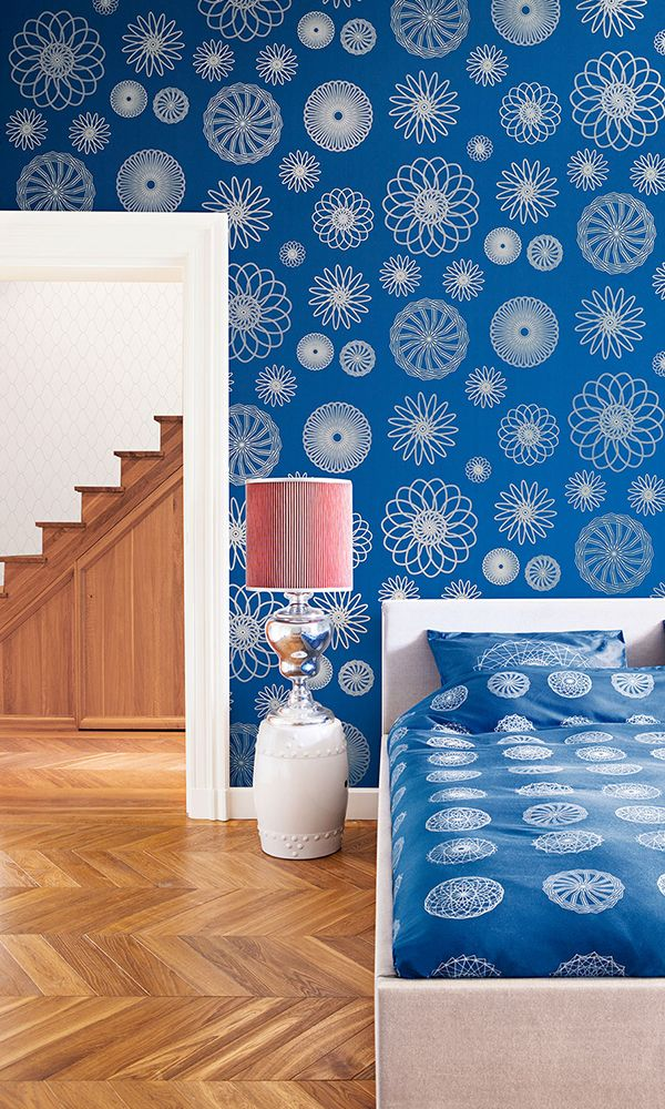 Cerulean Cluster Geometric Wallpaper R2224