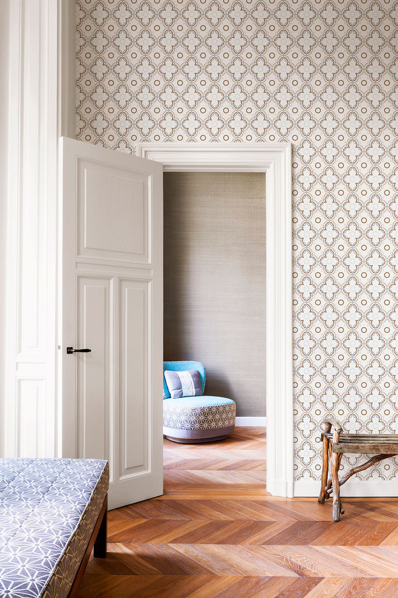 Lilac Floral Wallpaper R2228 | Contemporary Geometric Home Interior