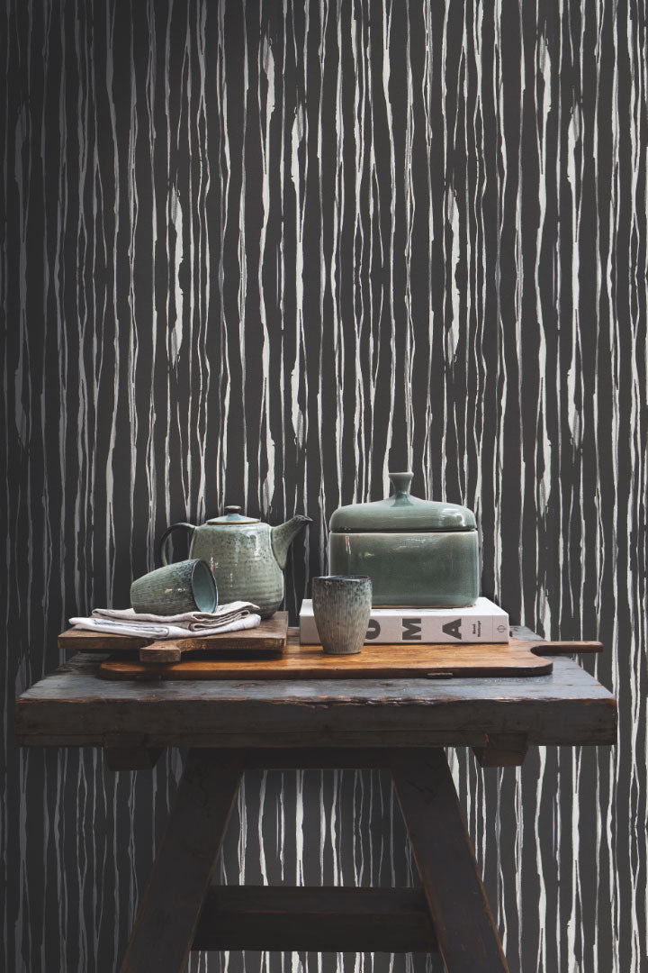 Black Strait  Wallpaper R2367  | Luxury Living Room Design