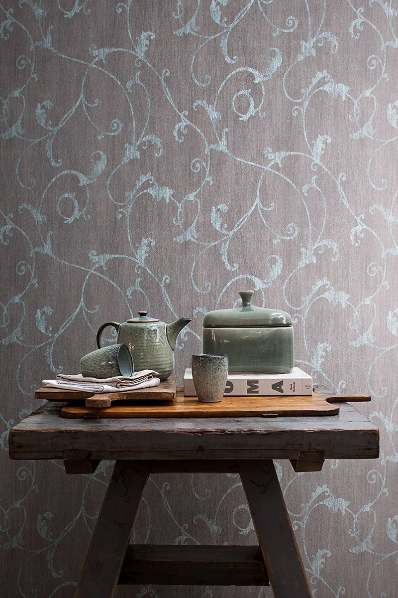 Charcoal Curve Floral Wallpaper R2448 | Traditional Home Interior