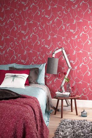 Red Thistles Floral Wallpaper R2454