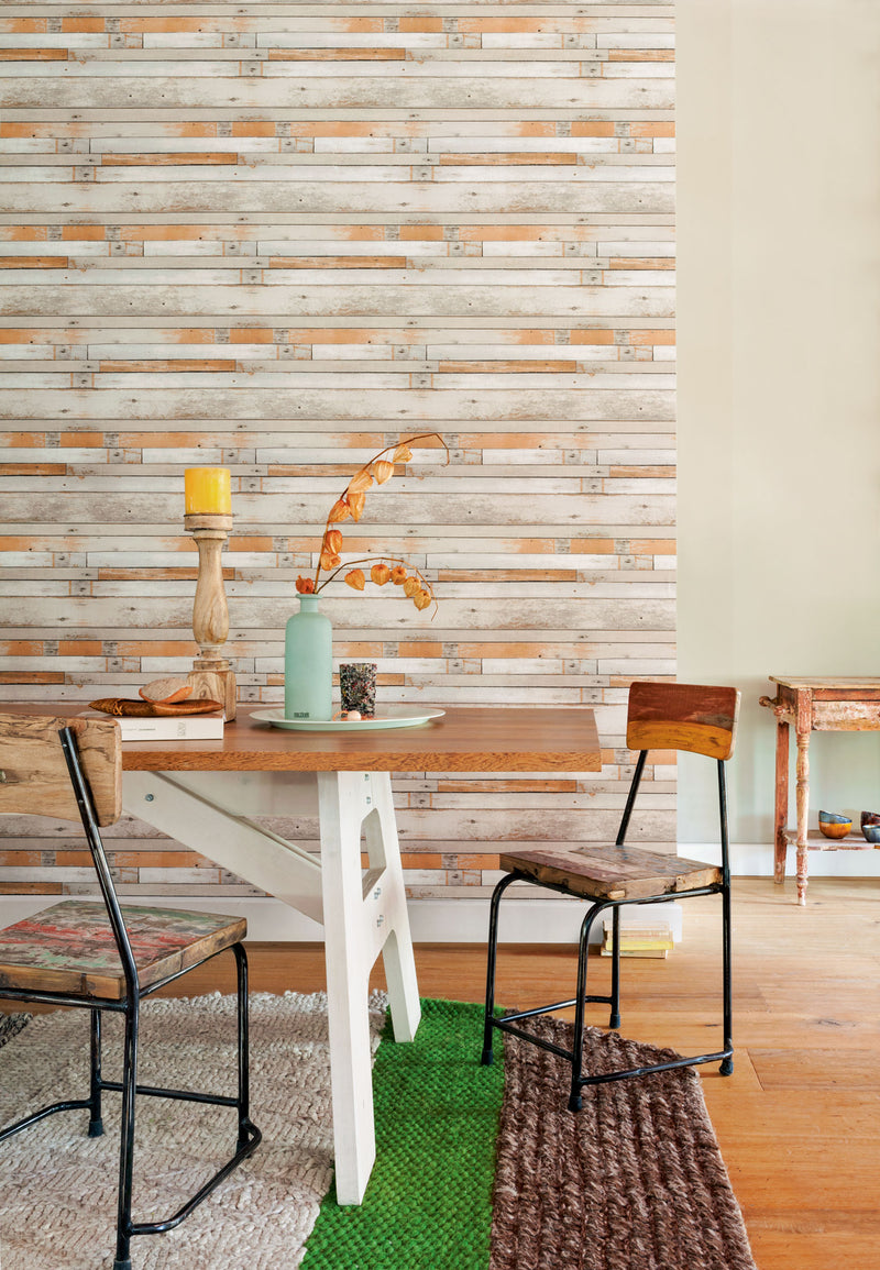 Orange Tinted Faux Wood Wallpaper R2583 | Vintage Home Interior