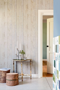 Tan Faux-Wood Rustic Wallpaper R2592 | Vintage Home Interior