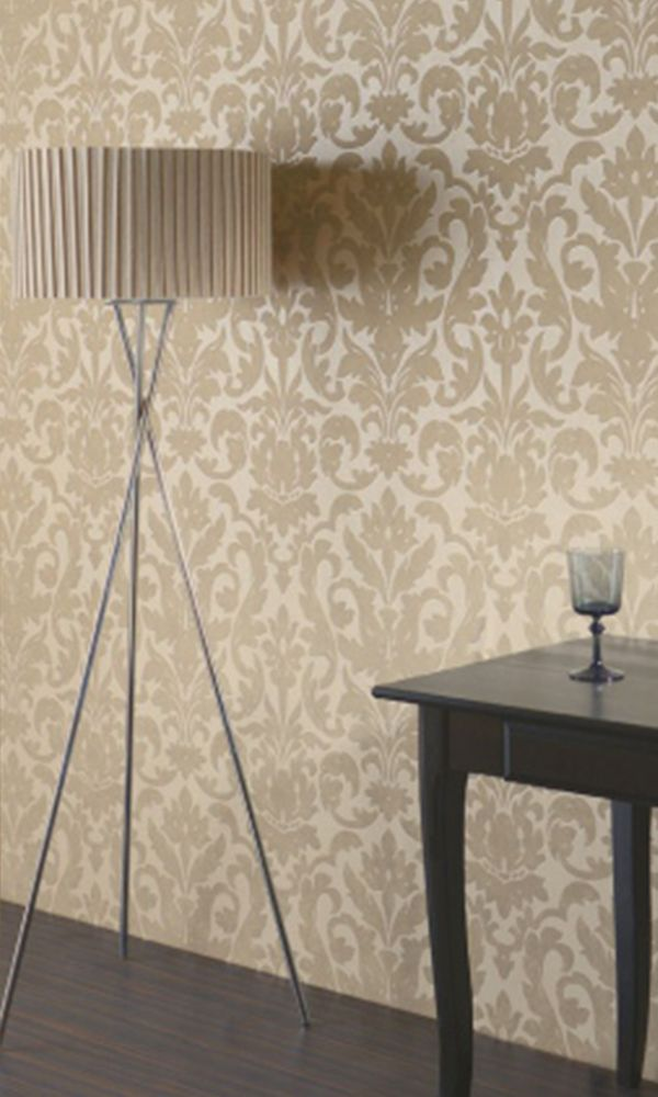 Beige Eggshell Everlasting Damask Wallpaper R2675