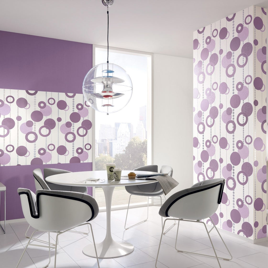Purple Circle Retro Wallpaper R2954 | Modern Home Interior