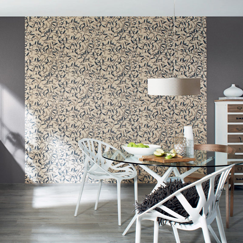 Beige Floral Leaf Wallpaper R2966 | Modern Home Wall Covering