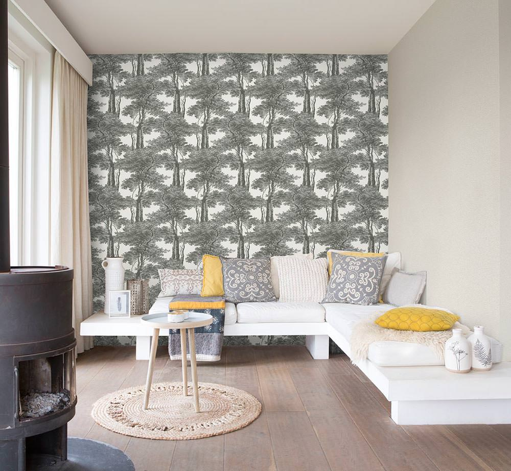 Grey & White Print Trees Wallpaper R4755 | Floral Home Interior