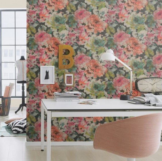 Abstract Watercolor Splatters Dark Floral Vintage Bold Wallpaper Pink and Orange R4758