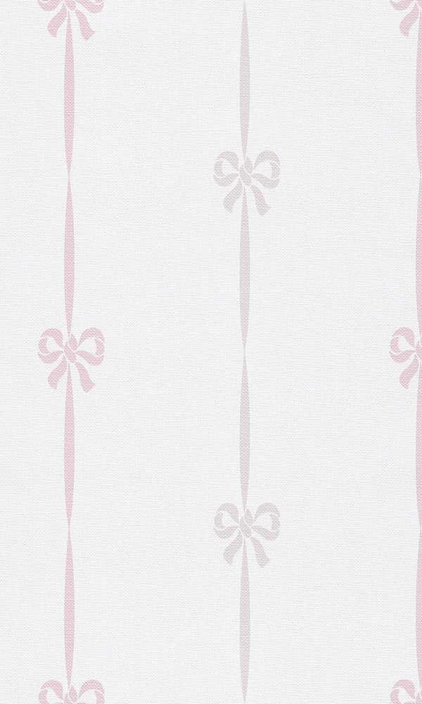 Beige & Pink Striped Ribbons Wallpaper R5986