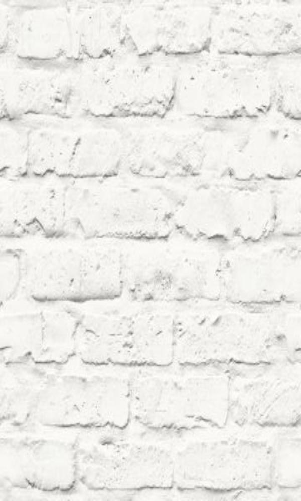 Contemporary Faux Brick Industrial Chic White Brick Wall Wallpaper R3704