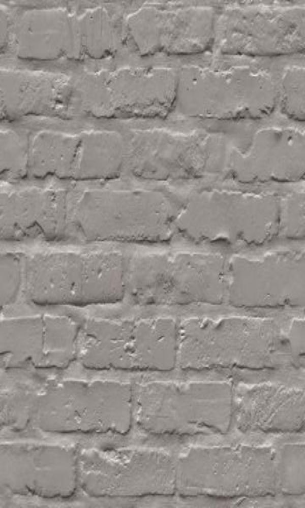 Contemporary Faux Brick Industrial Chic Grey Brick Wall Wallpaper R3705