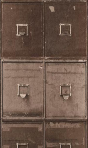 Brown Faux File Cabinet Wallpaper R3709 | Vintage Home Interior