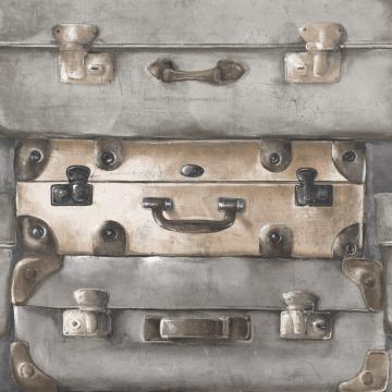 Vintage Suitcases Wallpaper Grey and Blue R4819