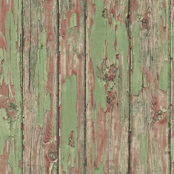 Vintage Faux Wood Wallpaper Brown And Light Green R4787